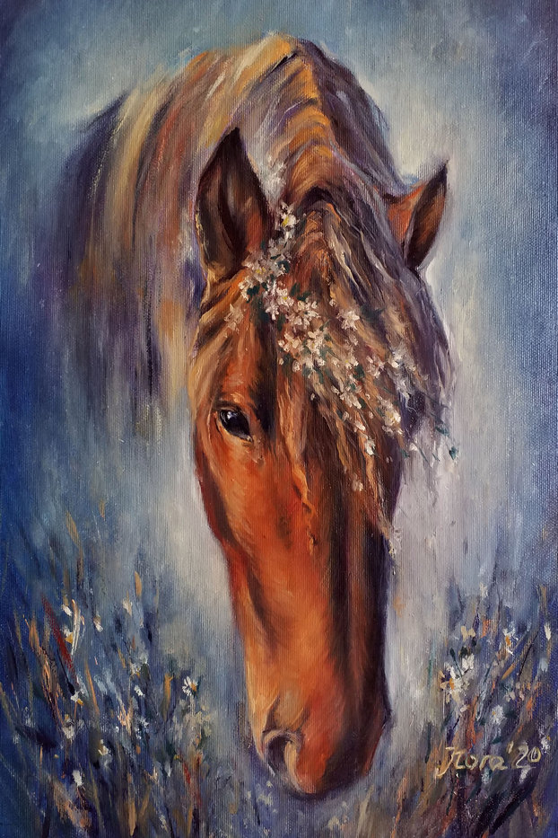 Custom horse portrait oil painting