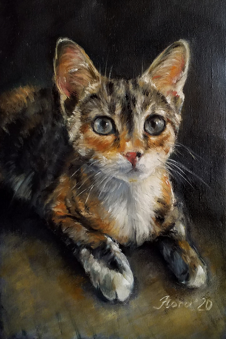 Custom cat portrait oil painting